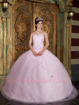 Princess Style Baby Pink Mesh Tulle Inflated Quinceanera Ball Gown Distributor
