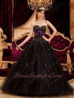 Black Tulle Purple Sash Applique A-line Quinceanera Vestido De University Stage Show