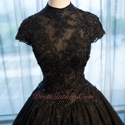Sheer Tulle High Collar Sweetheart Inside Beading Black Quinceanera Ball Gown Boutique