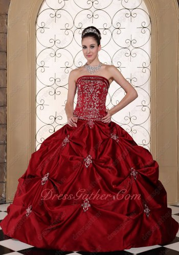 Wine Red Satin Pick-ups Silver Embroidery Quinceanera Ball Gown Western Classical