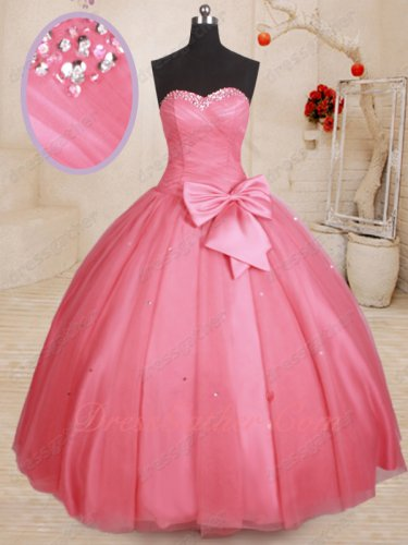 Affordable Simple Quinceanera Ball Gown Rose Pink Tulle With Detachable Bowknot