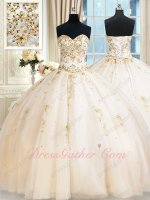 Sunshine Western Ivory Tulle Daughters Quinceanera Military Ball Gown Gold Embroidery