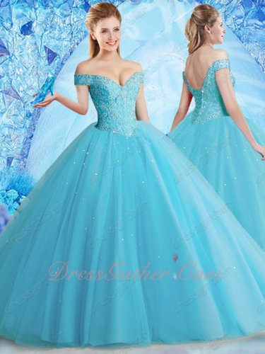 Stage Proscenium Off Shoulder Folds Tulle Ice Blue Vivacious Quinceanera Ball Gown 2020