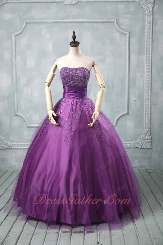 Custom Fitted Mauve Purple Wide Pleated Belt Little Puffy Skirt Quinceanera Dresses