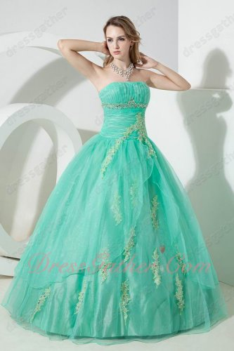 Strapless Boning Apple Green Organza Puffy Prom Night Ball Gown Applique Decorate