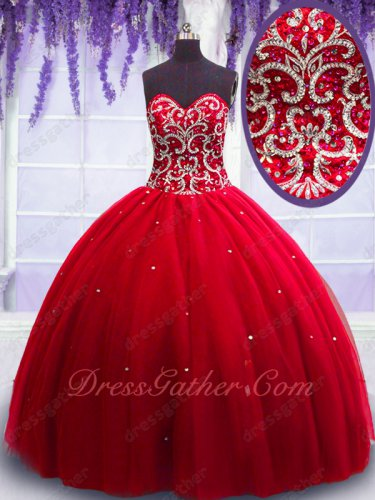 Puberty Floor Length Scarlett Court Ball Gown Adorned Sparkle Puffy Tulle Skirt