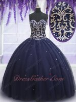 Elegant Navy Blue Fluffy Quinceanera Ball Gown 15th Birthday Girl Gift Surprise