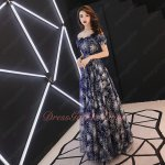 Navy Blue Off Shoulder V Shaped Sparkle Radiated Lace Aline Debutante Evening Gowns