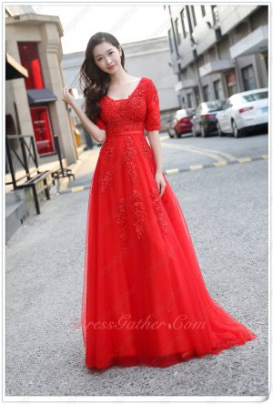 Dreamy V-neck Half Sleeves Appliques Red Customize Dress For Portrait Photo