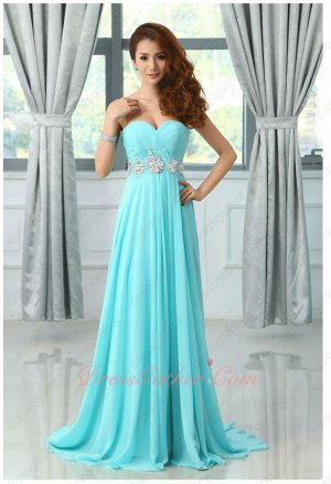 Sweetheart Neck Long Aqua Blue Chiffon Pageant Dress Store Near Me