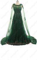 Hunter Green Fully Applique Romantic Prom Dress Cloak From Shoulder To Floor