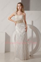 Luxury One Shoulder Ivory and Gold Variegated Lace Evening Formal Dress Different