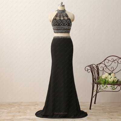 Silver and Gold Beading Two-pieces Floor Length Black Evening Dance Dress
