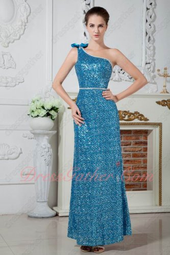 Blinking One Shoulder Variegated Azure Sequin Evening Gowns Ankle Length
