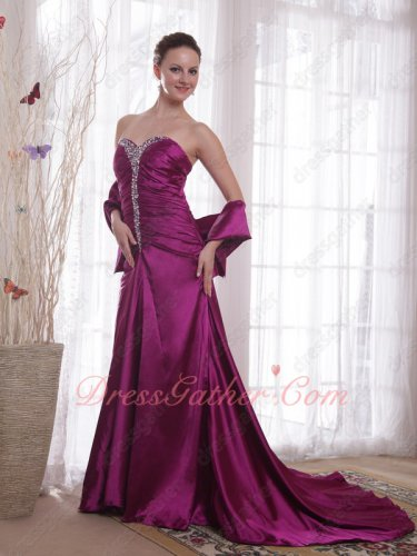 Mauve Purple Silk Like Satin Shiny Fabric Formal Evening Attire Woman Wear