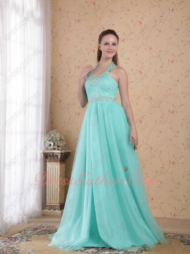 Empire Halter Mint Soft Tulle Puffy Lady Prom Dress Factory Wholesale Online Store