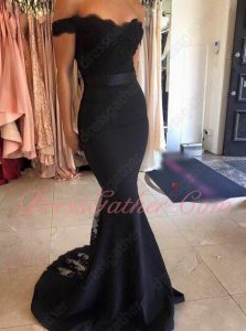 Skintight Black Spandex Evening Dress Mermaid Skirt With Triangle Lace Back