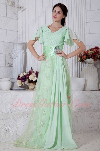 Wing Butterfly Ruffle Sleeves V-Neck Mint Green Special Occasion Prom Gowns Lace