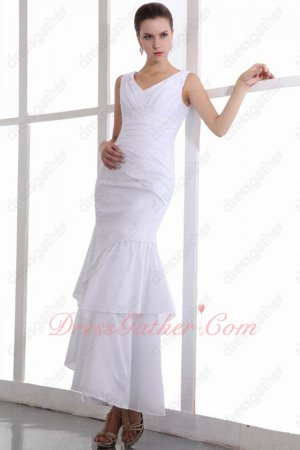 Straps Ankle Length Oblique Layers White Taffeta Quality Prom Dresses Cheap