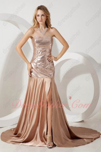 Thigh Slit Dark Rose Gold Mermaid Flattering Lady Evening Dress Up Amiable
