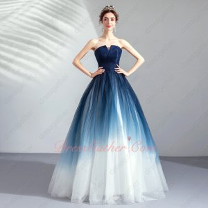 Navy Blue and White Gradient Color Tulle Peri Spirit Cheap Evening Prom Dress Selene
