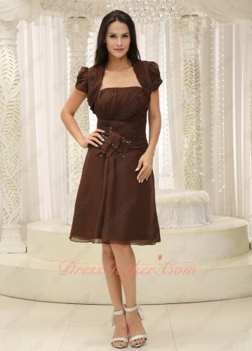Modest Chocolate Chiffon Knee Length Mother Bride Dress Jacket For Wedding Ceremony