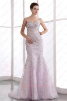 Deluxe Spaghetti Straps Trumpet Lilac Organza Fishtail Formal Prom Dress With Crystals