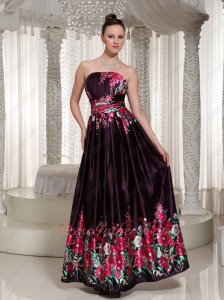 Printed Fabric Prom Dress Strapless Floor Length Skirt Burgundy Purple