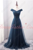Off Shoulder Tulle Navy Blue Ruching Genteel Celebrity Dress Customize Plus Size