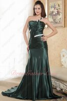 One Shoulder Dark Green Mermaid Glossy Silk-Like Satin Female Prom Dress Evening