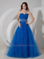 Ultramarine Royal Blue Soft Tulle Dropped Waist A-line Formal Gowns Dress