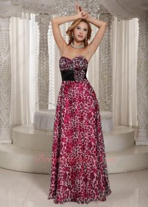 Enthusiastic Print Fuchsia Leopard Chiffon Pretty Dress Attend Cocktail Party