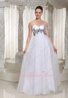 Empire Maternity Early Pregnancy Gowns Dress White With Black Embroidery Details