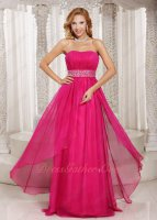 Fuchsia Chiffon Column Skirt Junior Formal Full Dress Beading Sash
