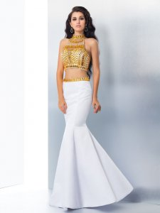 High Neck Bodice Two Pieces Trumpet Skirt White With Gold Crystals Prom Gowns Mum