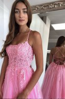 New Arrivals Spaghetti Strap Cross Tied Back Prom Gown Rose Pink