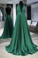 Halter Backless Emerald Green Voluminous Pleats Skirt Vintage Evening Queen Gown