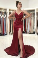 Spaghetti Straps V Neck Sheath Wine Red Court Train Masque Party Dress With High Slit