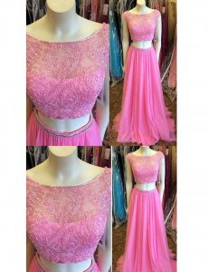 Sexy Scoop Applique Floor Length Rose Pink 2 Pieces Dancing Party Dress Evening Gown