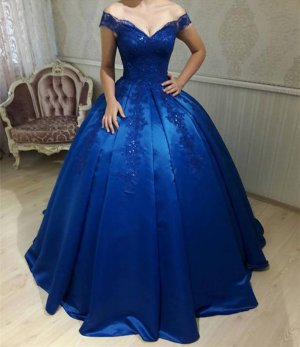 Cheap Off Shoulder Little Puffy Royal Blue Quinceanera Dress Debutante Ball Gown