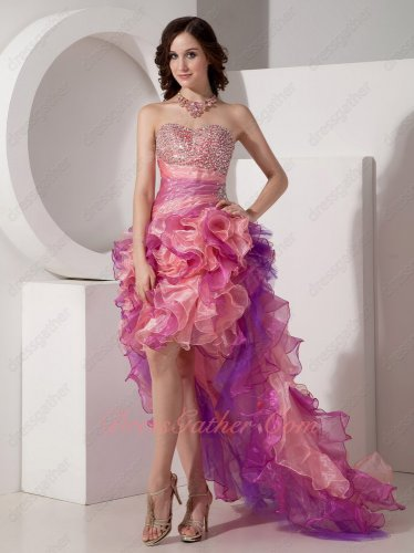 Amazing Contast Pink Color Beading Bodice High-low Cascade Prom Dress Customized