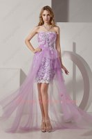 Youthful Sweetheart Lilac Tulle Waist Train Prom Dress Package Hips Short Inside