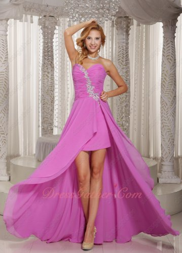 Sweetheart Deep Lilac Chiffon High-low Cocktail Gathering Dress Show Both Legs