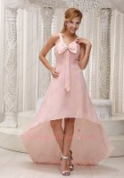 Pearl Pink Shirred Bodice Bowknot Decorate High-lowHomecoming Dress Under 90 Dollar