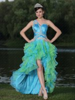 Single Strap Aqua and Spring Green Alternant High-low Ruffles Carnival Dress
