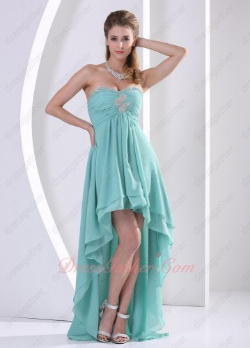Cheap Turquoise Chiffon High Low Style Spring Vacation Gowns Group Purchase