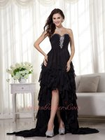 Crystal Decorate Princess High-low Skirt Black Multilayers Drinking Party Dress Mysterious