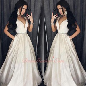 Light Champagne Formal Prom Gowns V Neck Crystals Belt Floor Length Skirt With Pockets