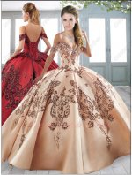 Spaghetti Straps Show Cleavage Satin Lady Quinceanera Ball Gown Sparkle Sequin Applique