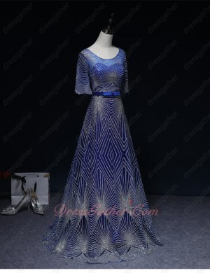 Exclusive Scoop Neck Shiny Stripe Lace Dark Royal Blue Evening Gowns Runway Pageant